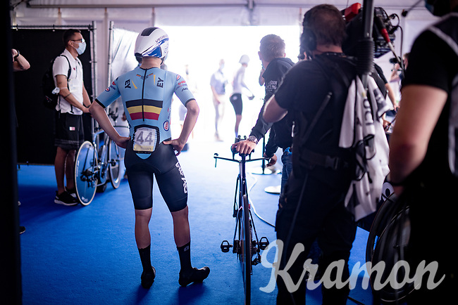 Remco Evenepoel (BEL/Deceuninck-Quickstep) at the startzone<br /> <br /> Men Elite Individual Time Trial <br /> from Knokke-Heist to Bruges (43.3 km)<br /> <br /> UCI Road World Championships - Flanders Belgium 2021<br /> <br /> ©kramon
