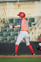 Cole Freeman (8) of the Hagerstown Suns at bat against the Kannapolis Intimidators at Kannapolis Intimidators Stadium on May 4, 2018 in Kannapolis, North Carolina.  The Intimidators defeated the Suns 11-0.  (Brian Westerholt/Four Seam Images)