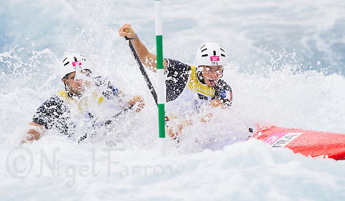 02 AUG 2012 - CHESHUNT, GBR - Matthieu Peche (FRA) (left) and Gauthier Klauss (FRA) (right) of France make their final run in the men's Canoe Double (C2) during the London 2012 Olympic Games final at Lee Valley White Water Centre, Cheshunt, Great Britain .(PHOTO (C) 2012 NIGEL FARROW)