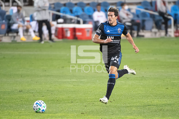 SAN JOSE, CA - NOVEMBER 04: Cade Cowell #44 of the San Jose Earthquakes dribbles the ball during a game between Los Angeles FC and San Jose Earthquakes at Earthquakes Stadium on November 04, 2020 in San Jose, California.