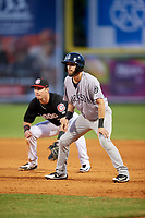 Jackson Generals second baseman Kevin Medrano (6) leads off first base in front of Brent Rooker (25) during a game against the Chattanooga Lookouts on May 9, 2018 at AT&T Field in Chattanooga, Tennessee.  Chattanooga defeated Jackson 4-2.  (Mike Janes/Four Seam Images)