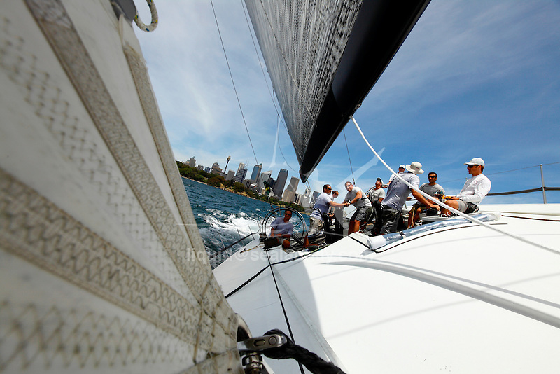 Onboard Rán for a test sail in the Sydney Harbour, before the Rolex Sydney to Hobart Yacht Race 2009..Rán is the sea goddess in the Norse mythology. Rán II is a 72 foot Judel Vrolijk designed racing yacht built by Green Marine in 2009.