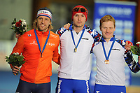 SPEEDSKATING: ERFURT: 19-01-2018, ISU World Cup, Podium 500m Men A Division, Michel Mulder (NED), Pavel Kulizhnikov (RUS), Artyom  Kuznetsov (RUS), photo: Martin de Jong