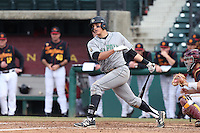 Nick Torres #10 of the Cal Poly Mustangs bats against the USC Trojans at Dedeaux Field on March 2, 2014 in Los Angeles, California. Cal Poly defeated USC, 5-1. (Larry Goren/Four Seam Images)