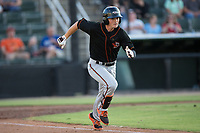 Preston Palmeiro (25) of the Delmarva Shorebirds hustles down the first base line against the Kannapolis Intimidators at Kannapolis Intimidators Stadium on June 30, 2017 in Kannapolis, North Carolina.  The Shorebirds defeated the Intimidators 6-4.  (Brian Westerholt/Four Seam Images)