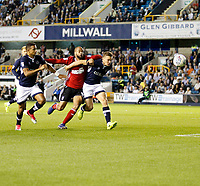 Millwall's Shaun Hutchinson holds off Ipswich Town's David McGoldrick during the Sky Bet Championship match between Millwall and Ipswich Town at The Den, London, England on 15 August 2017. Photo by Carlton Myrie.