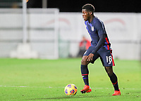 WIENER NEUSTADT, AUSTRIA - NOVEMBER 16: Yunus Musah #18 of the United States looks for an open man during a game between Panama and USMNT at Stadion Wiener Neustadt on November 16, 2020 in Wiener Neustadt, Austria.