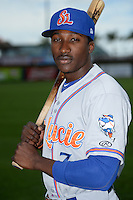 St. Lucie Mets outfielder Champ Stuart (7) poses for a photo before a game against the Bradenton Marauders on April 12, 2015 at McKechnie Field in Bradenton, Florida.  Bradenton defeated St. Lucie 7-5.  (Mike Janes/Four Seam Images)