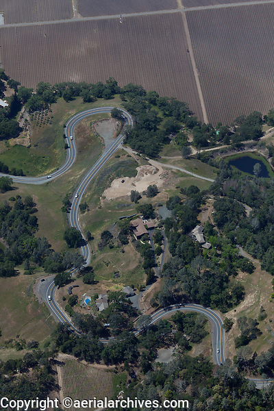 aerial photograph of California Highway 29 north of Calistoga,  Napa County, California; this highway with extensive switchbacks through the moutains connects Calistoga and Middletown