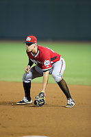 Carolina Mudcats first baseman Joey Meneses (44) on defense against the Winston-Salem Dash at BB&T Ballpark on July 23, 2015 in Winston-Salem, North Carolina.  The Dash defeated the Mudcats 3-2.  (Brian Westerholt/Four Seam Images)
