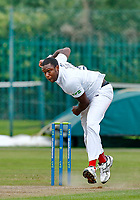 23rd September 2021; Aigburth, Liverpool, Merseyside, England; LV=Country Cricket Championship; Lancashire versus Hampshire; Keith Barker of Hampshire bowls during his opening spell in the Lancashire second innings