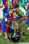 FC Barcelona's forward Luis Suarez with his kids after Copa del Rey (King's Cup) Final between Deportivo Alaves and FC Barcelona at Vicente Calderon Stadium in Madrid, May 27, 2017. Spain.<br /> (ALTERPHOTOS/BorjaB.Hojas)
