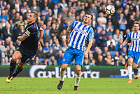 Pascal Gross of Brighton & Hove Albion (13) and Phil Jagielka of Everton (6) challenge for the ball during the Premier League match between Brighton and Hove Albion and Everton at the American Express Community Stadium, Brighton and Hove, England on 15 October 2017. Photo by Edward Thomas / PRiME Media Images.