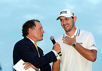 29th August 2021; Owens Mills, Maryland, USA;  NBC's Jimmy Roberts (left) interviewing Patrick Cantlay (USA) on the 18th green moments after he won the BMW Championship on August 29, 2021, at Caves Valley Golf Club in Owings Mills, MD.
