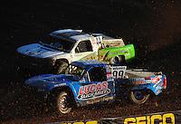 Dec. 10, 2011; Chandler, AZ, USA;  LOORRS pro 2 unlimited driver Robby Woods races alongside Jeff Geiser during round 15 at Firebird International Raceway. Mandatory Credit: Mark J. Rebilas-