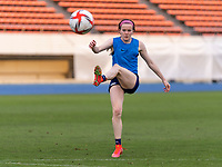 TOKYO, JAPAN - JULY 20: Rose Lavelle #16 of the USWNT strikes a ball during a training session at the practice fields on July 20, 2021 in Tokyo, Japan.