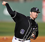 Pitcher Alex Abrams (9) of the Furman University Paladins in a game against the Toledo Rockets on Sunday, February 16, 2013, at Fluor Field at the West End in Greenville, South Carolina. Furman won, 13-5 and Abrams picked up the win. The game was part of the First Pitch Invitational. (Tom Priddy/Four Seam Images)