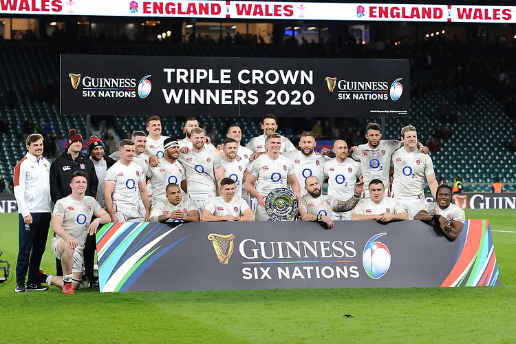 England win the Triple Crown after beating all the other home nations after the Guinness Six Nations match between England and Wales at Twickenham Stadium on Saturday 7th March 2020 (Photo by Rob Munro/Stewart Communications)
