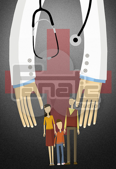 Illustrated shot of a family covered under medical insurance