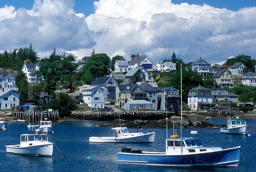 lobster boats, ME, Stonington, Maine, Deer Isle, Lobster boats buoyed in the harbor of the lobstering village of Stonington on Deer Isle on the Atlantic Ocean.