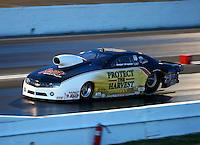 May 16, 2014; Commerce, GA, USA; NHRA pro stock driver Rodger Brogdon during qualifying for the Southern Nationals at Atlanta Dragway. Mandatory Credit: Mark J. Rebilas-USA TODAY Sports