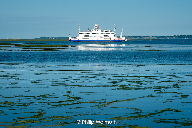 Wight Link ferry crossing the Solent to the Isle of Wight, Lymington, Hampshire.