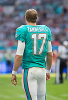 04.10.2015. Wembley Stadium, London, England. NFL International Series. Miami Dolphins versus New York Jets. Miami Dolphins Quarterback Ryan Tannehill watches the play during the first quarter.