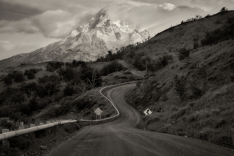 Paine Massif mountains  and road at sunrise . Torres del Paine National Park, Chile, Patagonia