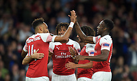Danny Welbeck of Arsenal congratulates goalscorer Pierre-Emerick Aubameyang on his second goal  during the UEFA Europa League match group between Arsenal and Vorskla Poltava at the Emirates Stadium, London, England on 20 September 2018. Photo by Andrew Aleks / PRiME Media Images.