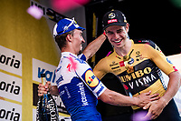 Wout Van Aert (BEL/Jumbo-Visma) wins 'La Primavera' (Spring) in summer & is congratulated by runner-up & defending champion Julian Alaphilippe (FRA/Deceuninck-QuickStep)<br /> <br /> 111st Milano-Sanremo 2020 (1.UWT)<br /> 1 day race from Milano to Sanremo (305km)<br /> <br /> the postponed edition > exceptionally held in summer because of the Covid-19 pandemic calendar reshuffle