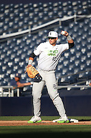 Alejandro Toral (10) of the East Team throws balls to the infielders between innings of a game against the West Team during the Perfect Game All American Classic at Petco Park on August 14, 2016 in San Diego, California. West Team defeated the East Team, 13-0. (Larry Goren/Four Seam Images)