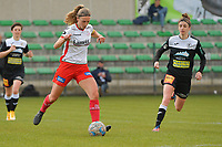 Pauline Windels (5) of Zulte Waregem and Justine Blave (22) of Eendracht Aalst pictured during a female soccer game between Eendracht Aalst and SV Zulte Waregem on the fourth matchday of play off 2 of the 2020 - 2021 season of Belgian Scooore Womens Super League , Saturday 1 st of May 2021  in Aalst , Belgium . PHOTO SPORTPIX.BE | SPP | DIRK VUYLSTEKE