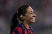 EAST HARTFORD, CT - JULY 1: Christen Press #11 of the USWNT laughs during a game between Mexico and USWNT at Rentschler Field on July 1, 2021 in East Hartford, Connecticut.