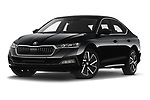 Stock pictures of low aggressive front three quarter view of 2020 Skoda Octavia Style 5 Door Hatchback Low Aggressive