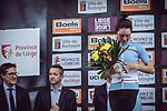 Sofia Bertizzolo (ITA) Astana Womens Team on the podium at the end of the 2018 Liege-Bastogne-Liege Femmes running 136km from Bastogne to Ans, Belgium. 22nd April 2018.<br /> Picture: ASO/Thomas Maheux | Cyclefile<br /> All photos usage must carry mandatory copyright credit (© Cyclefile | ASO/Thomas Maheux)