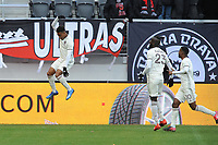WASHINGTON, DC - FEBRUARY 29: Washington, D.C. - February 29, 2020: Jonathan Lewis #7 of the Colorado Rapids celebrates the goal winner during the game. The Colorado Rapids defeated D.C. Untied 2-1 during their Major League Soccer (MLS)  match at Audi Field during a game between Colorado Rapids and D.C. United at Audi Field on February 29, 2020 in Washington, DC.