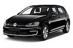 2015 Volkswagen GOLF e-Golf 5 Door Hatchback 2WD Angular Front stock photos of front three quarter view