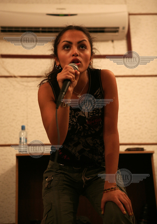 """Maral with her band """"The Plastic Wave"""" Practicing in a tehran studio"""