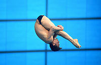 Great Britain's Matty Lee compete in the 10m Platform<br /> <br /> Photographer Hannah Fountain/CameraSport<br /> <br /> FINA/CNSG Diving World Series 2019 - Day 3 - Sunday 19th May 2019 - London Aquatics Centre - Queen Elizabeth Olympic Park - London<br /> <br /> World Copyright © 2019 CameraSport. All rights reserved. 43 Linden Ave. Countesthorpe. Leicester. England. LE8 5PG - Tel: +44 (0) 116 277 4147 - admin@camerasport.com - www.camerasport.com