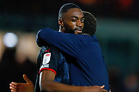 28th August 2021; Weston Homes Stadium, Peterborough, Cambridgeshire, England; EFL Championship football, Peterborough United versus West Bromwich Albion; West Bromwich Albion Head Coach Valerien Ismael congratulates Semi Ajayi of West Bromwich Albion after the final whistle