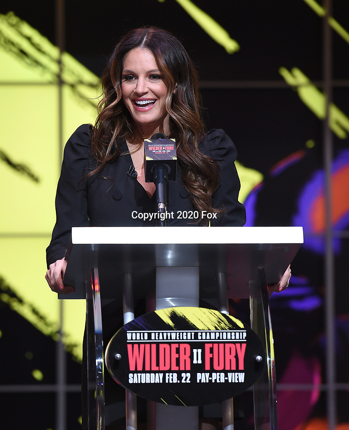 """LOS ANGELES - JANUARY 25: Heidi Androl during a Los Angeles press conference on January 25, 2020 for the """"Wilder vs Fury II"""" FOX SPORTS PPV & ESPN+ PPV which will take place on Feb. 22 from the MGM Grand Garden Arena in Las Vegas. (Photo by Frank Micelotta/Fox Sports/PictureGroup)"""