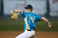 Mooresville Spinners relief pitcher Nolan DeVos (5) (Davidson College) in action against the Concord A's at Moor Park on July 31, 2020 in Mooresville, NC. The Spinners defeated the Athletics 6-3 in a game called after 6 innings due to rain. (Brian Westerholt/Four Seam Images)
