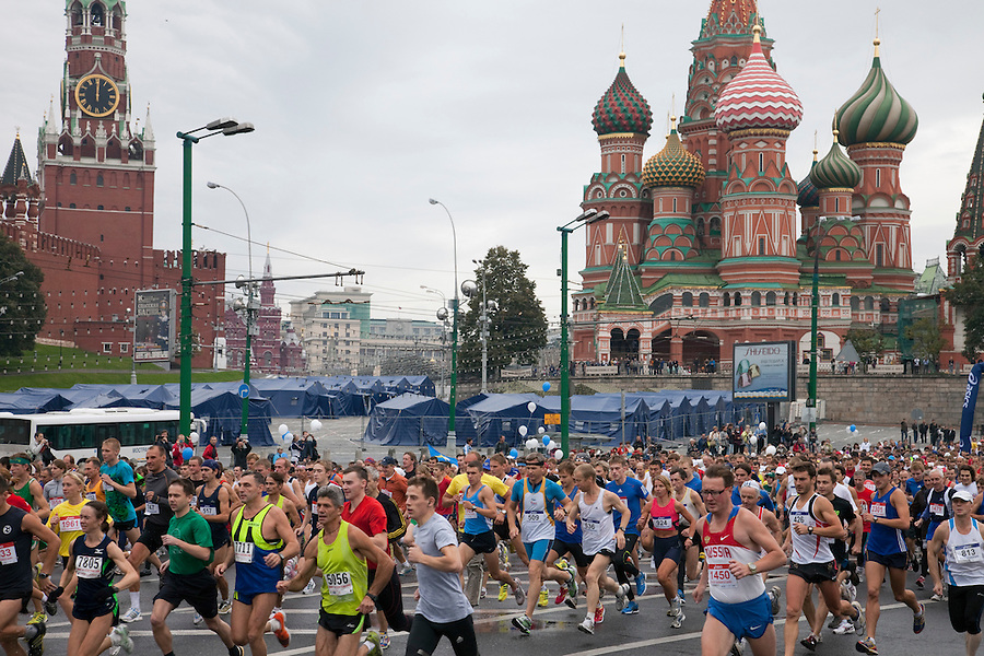 Moscow, Russia, 12/09/2010..Runners set off from Red Square on the 30th annual Moscow International Marathon.