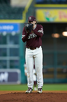 Mississippi State Bulldogs starting pitcher Konnor Pilkington (48) looks to his catcher for the sign against the Louisiana Ragin' Cajuns in game three of the 2018 Shriners Hospitals for Children College Classic at Minute Maid Park on March 2, 2018 in Houston, Texas.  The Bulldogs defeated the Ragin' Cajuns 3-1.   (Brian Westerholt/Four Seam Images)