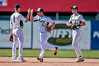 3 September 2018: Vermont Lake Monsters outfielder Nick Osborne (5) celebrates after the game against the Tri-City ValleyCats at Centennial Field in Burlington, Vermont. The Lake Monsters defeated the ValleyCats 9-6 in the last game of the 2018 NY Penn League regular season. Mandatory Credit: Ed Wolfstein Photo *** RAW (NEF) Image File Available ***