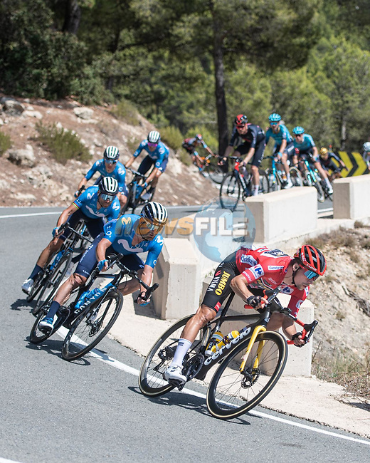 Race leader Red Jersey Primoz Roglic (SLO) Jumbo Visma followed by Jose Joaquin Rojas, Alejandro Valverde (ESP) and Movistar Team descend during Stage 7 of La Vuelta d'Espana 2021, running 152km from Gandia to Balcon de Alicante, Spain. 20th August 2021.     <br /> Picture: Unipublic/Charly Lopez | Cyclefile<br /> <br /> All photos usage must carry mandatory copyright credit (© Cyclefile | Charly Lopez/Unipublic)