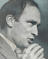 1968 FILE PHOTO - ARCHIVES <br /> <br /> A leading contender in race for leadership of Liberal party-even though he has not yet announced he will run-Justice Minister Pierre Elliott Trudeau roused support of weekend convention of Quebec Liberals in Montreal with his statement of federal government's position at next week's constitutional conference.<br /> <br /> 1968<br /> <br /> PHOTO :  Doug Griffin - Toronto Star Archives - AQP