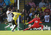 Odion Ighalo of Watford scores the opening goal   during the Barclays Premier League match Watford and Swansea   played at Vicarage Road Stadium , Watford