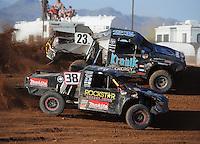 Apr 17, 2011; Surprise, AZ USA; LOORRS driver Brian Deegan (38) and John Gaston (23) during round 4 at Speedworld Off Road Park. Mandatory Credit: Mark J. Rebilas-