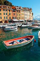Harbour of Portofino . fashionable seaside fishing village for the wealthy .  Ligurian Coast. Italy